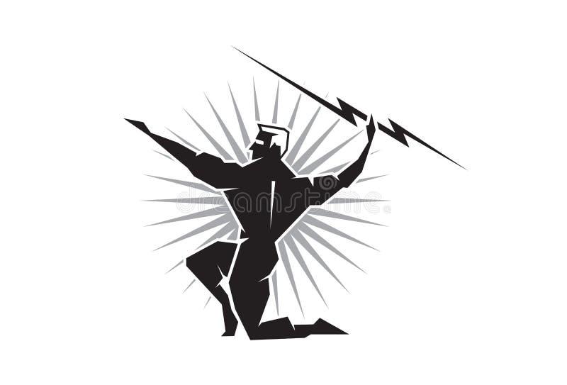 Olympiska Zeus som kastar en bult av blixt vektor illustrationer
