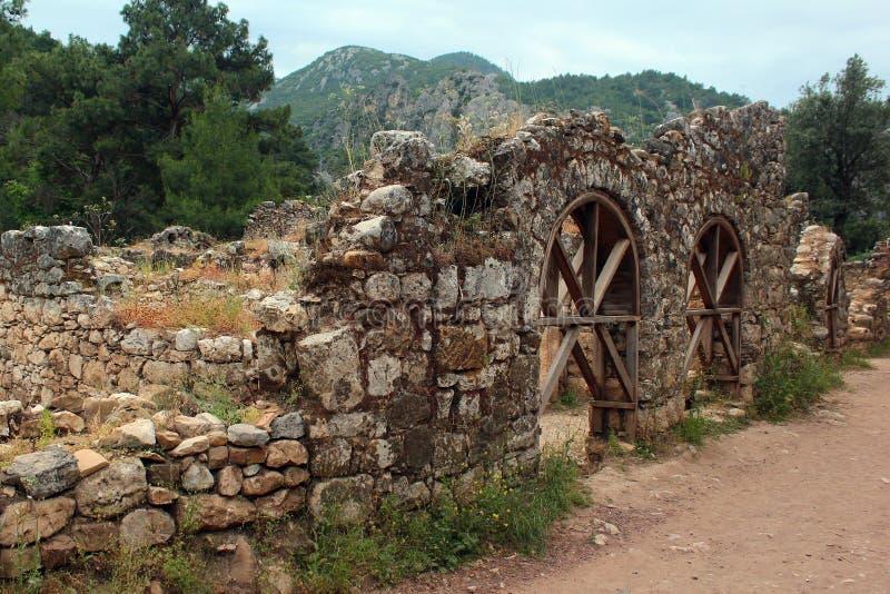 Olympos古希腊镇废墟在Cirali,土耳其附近的 库存照片