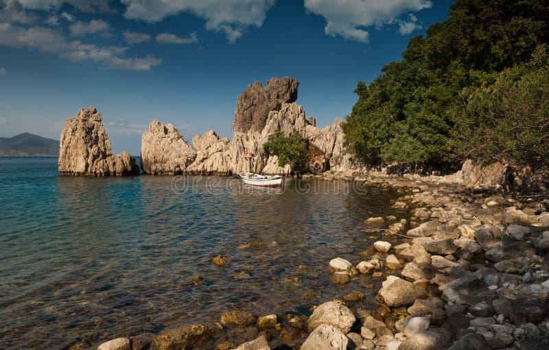 Olympos海滩岩石 图库摄影