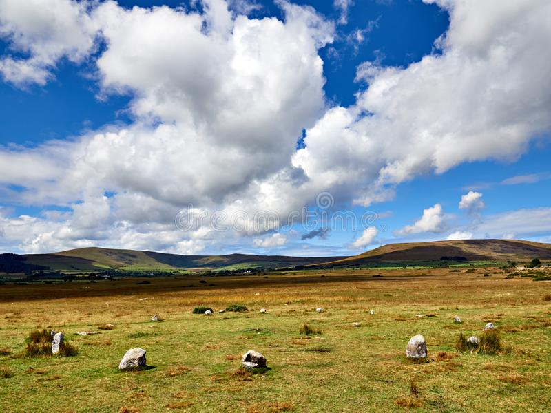 Gors Fawr Stone Circle Preseli Hills. Thought to be Bronze Age the near perfect circle comprises sixteen stones twenty-two metres in diameter. There was an stock photography