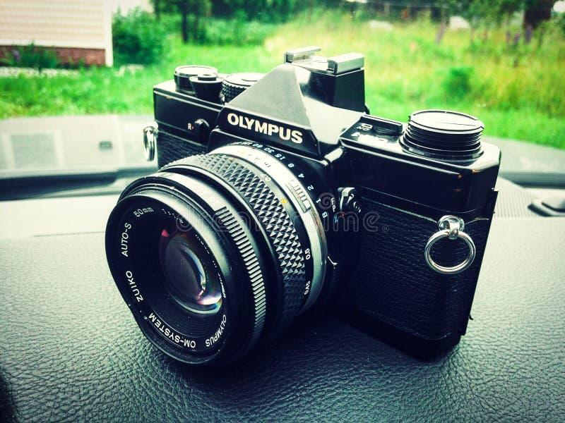 Olympus OM-1 film camera. Moscow, Russia - June 14, 2016: Vintage Olympus OM-1 film camera stock photo