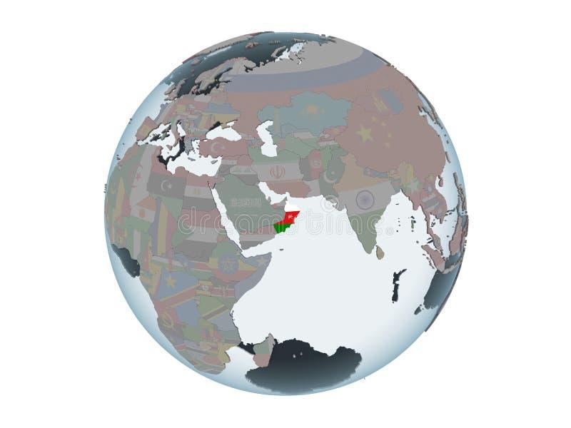 Omán con la bandera en el globo aislado libre illustration