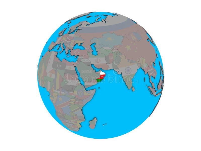 Omán con la bandera en el globo aislado ilustración del vector
