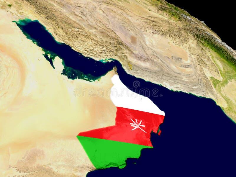 Omán con la bandera en la tierra stock de ilustración