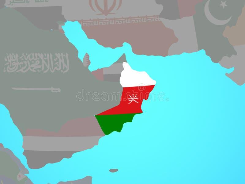 Omán con la bandera en mapa libre illustration
