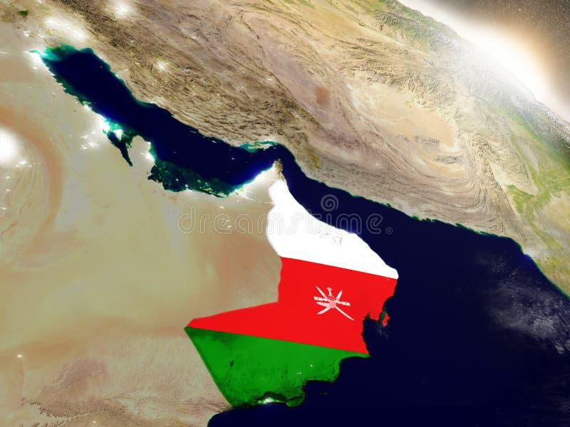 Omán con la bandera en sol naciente libre illustration