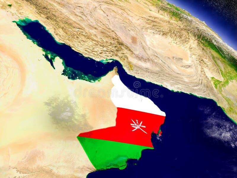 Omán con la bandera integrada en la tierra ilustración del vector