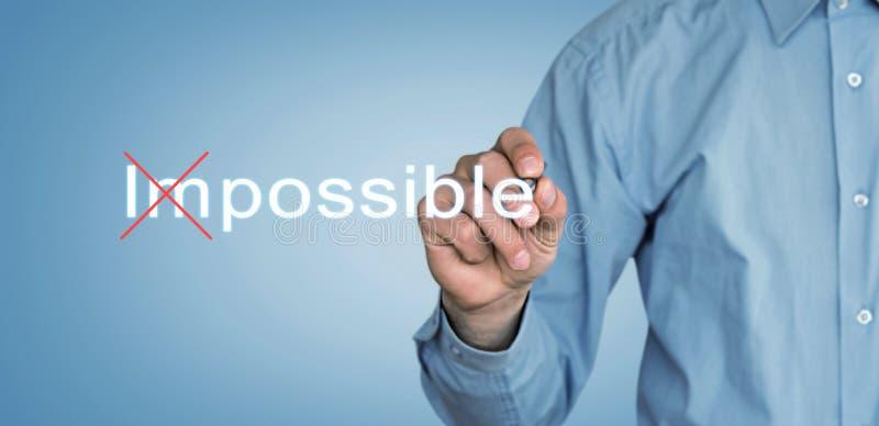 Omöjlig affärsmanändring till möjligheten på skärmen arkivfoto