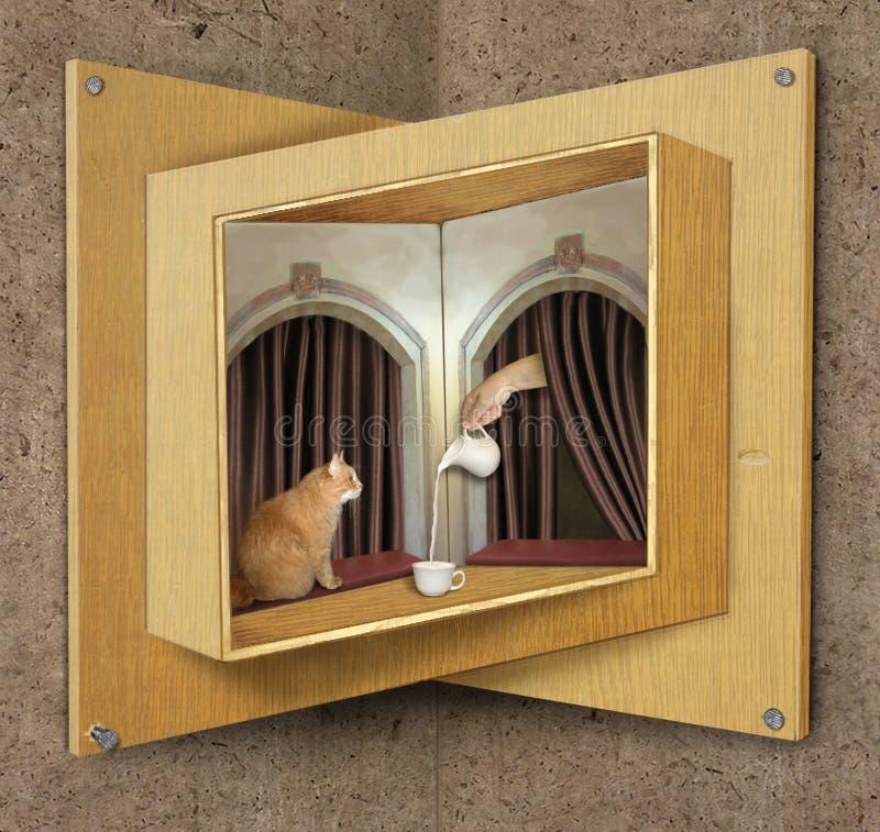 Omöjlig fönster och katt arkivfoto
