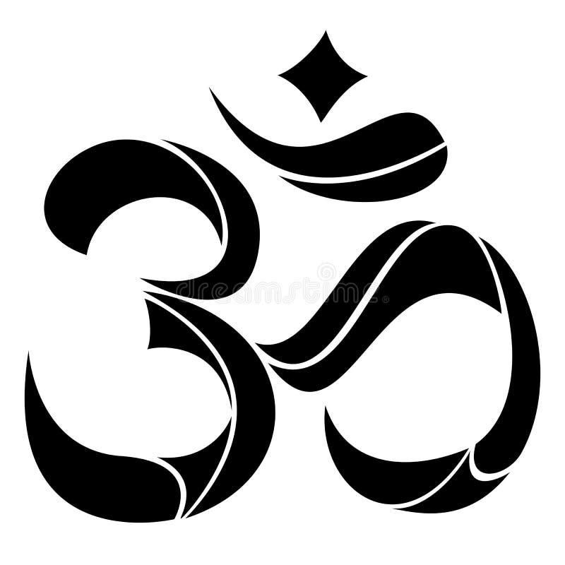 Om标志瑜伽或Pranava 皇族释放例证