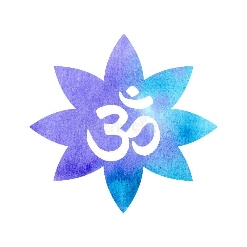 Om в лилии акварели голубой бесплатная иллюстрация