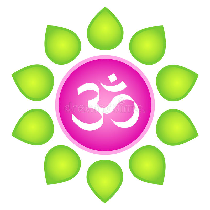 Om. Isolated vector om logo element. White om symbol in lotus flower - in pink circle with green leaves around on white background