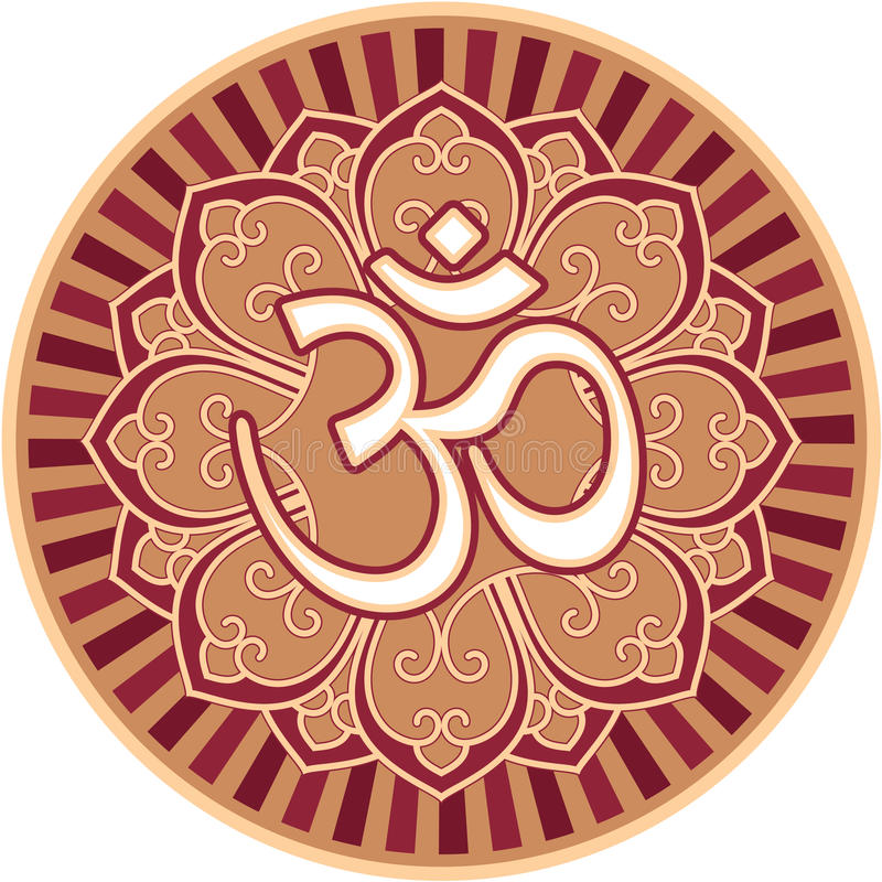 Om - Aum - символ в розетке цветка бесплатная иллюстрация