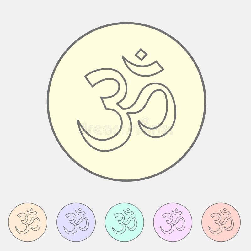 Om aum hinduism mapy lokaci pointeru ikony sieci znaka symbolu loga płaska etykietka ilustracji