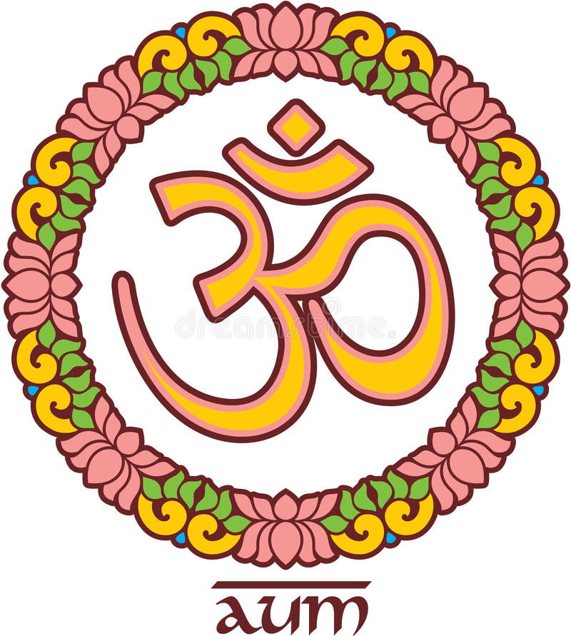 OM - Aum - símbolo em Lotus Frame ilustração stock