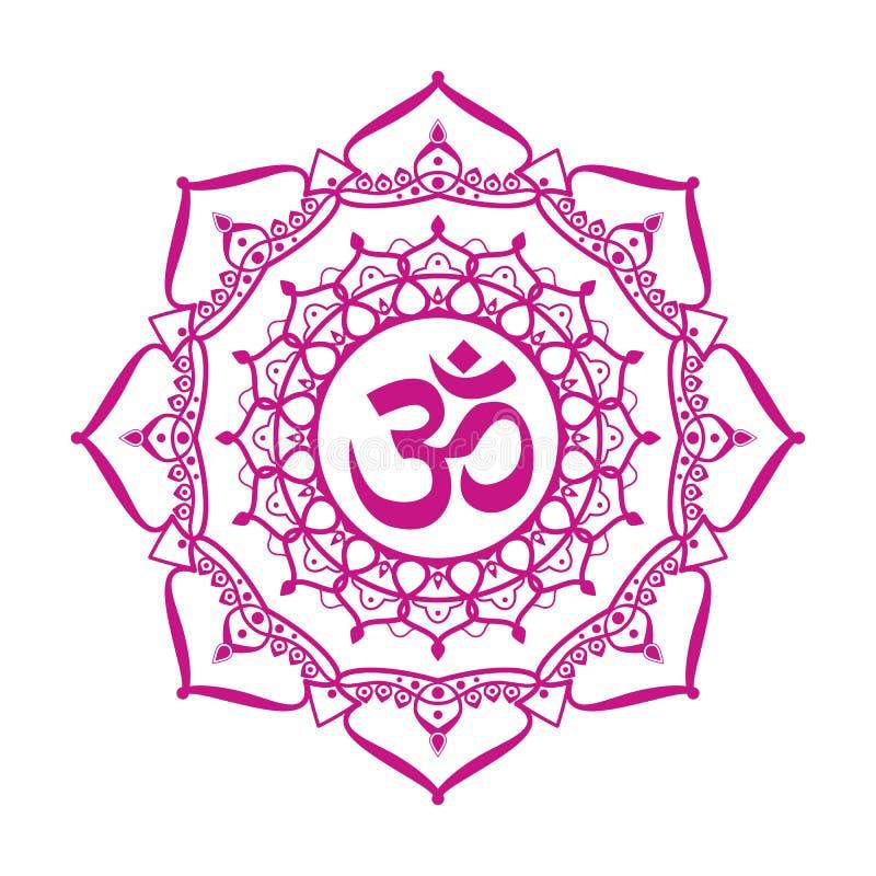 Om aum sign. Om symbol, aum sign, with decorative indian ornament mandala, on white background. vector illustration vector illustration