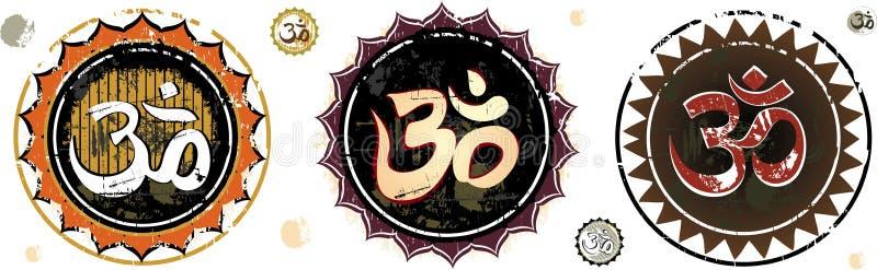 Om Aum Symbol. OM- The divine symbol of hinduism. grunge illustration. To see more illustrations, please visit my gallery stock illustration