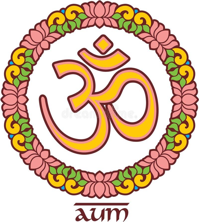 Om - Aum - symbol i Lotus Frame stock illustrationer