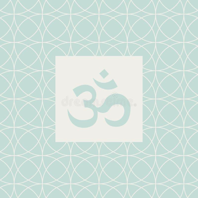 Om Blue Yoga Studio Design Card vector illustration