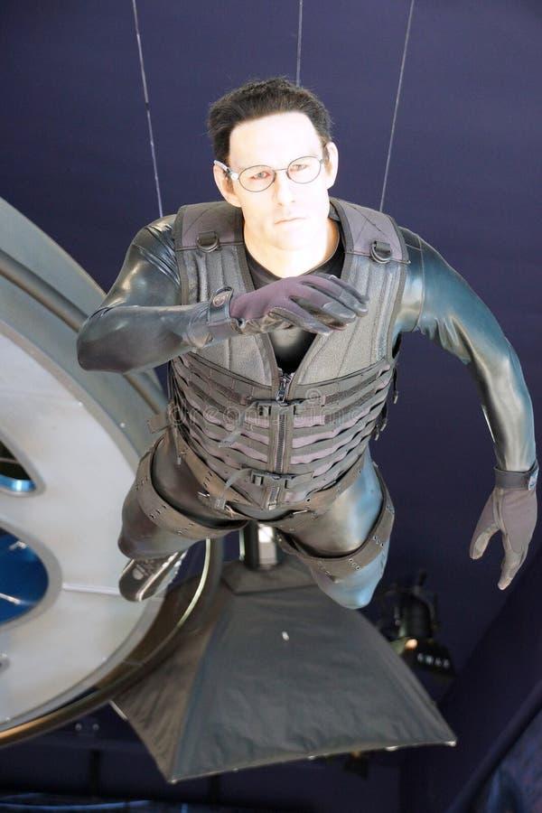 om Cruise' s Ethan Hunt Character från Mission Impossible hängningar inom det Hollywood vaxmuseet royaltyfria foton