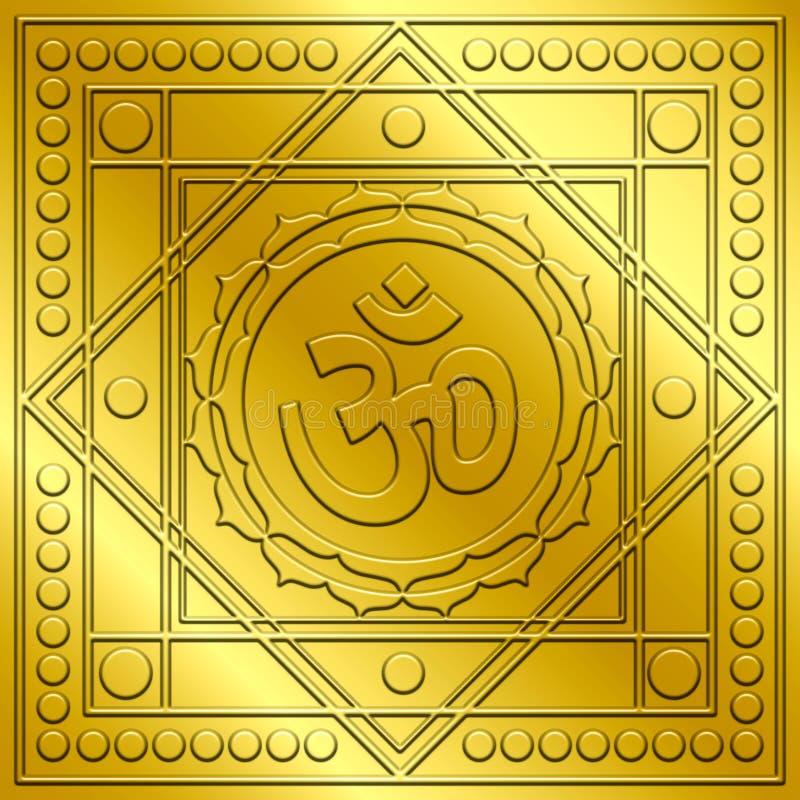OM de oro espiritual diseña ilustración del vector