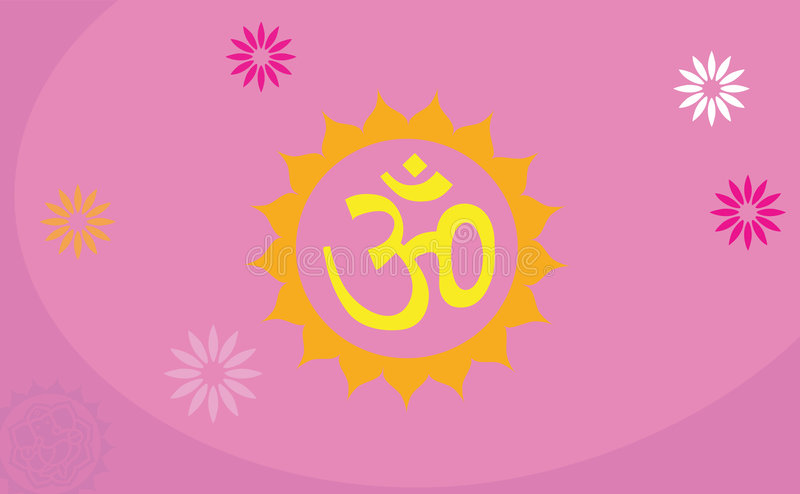 Om Decorated With Flower Stock Images