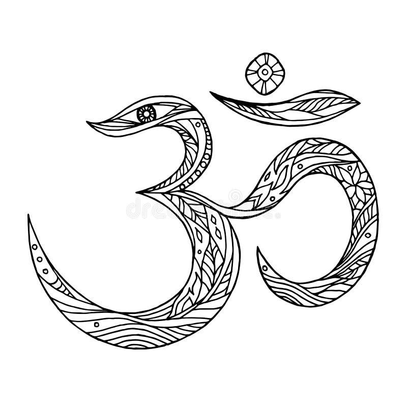 OM, gezeichnete Vektorillustration des Aum-Symboldesigns Hand lizenzfreie abbildung
