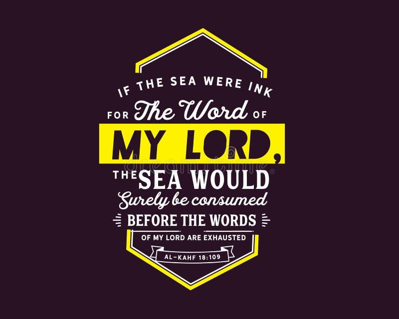 Om havet var färgpulver för orden av min lord, skulle havet konsumeras säkert, för orden av min lord evakueras | Al-Kahf vektor illustrationer