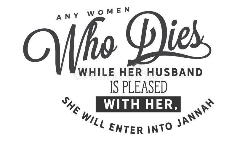 Om het even welke vrouw die sterft terwijl haar echtgenoot met haar tevreden is, zal zij in Jannah binnengaan vector illustratie