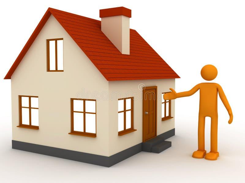 Om het huis aan te bieden royalty-vrije illustratie