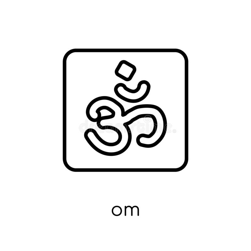Om icon. Trendy modern flat linear vector Om icon on white background from thin line Religion collection. Editable outline stroke vector illustration royalty free illustration