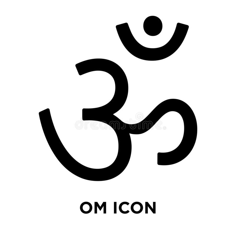 Om icon vector isolated on white background, logo concept of Om. Sign on transparent background, filled black symbol stock illustration