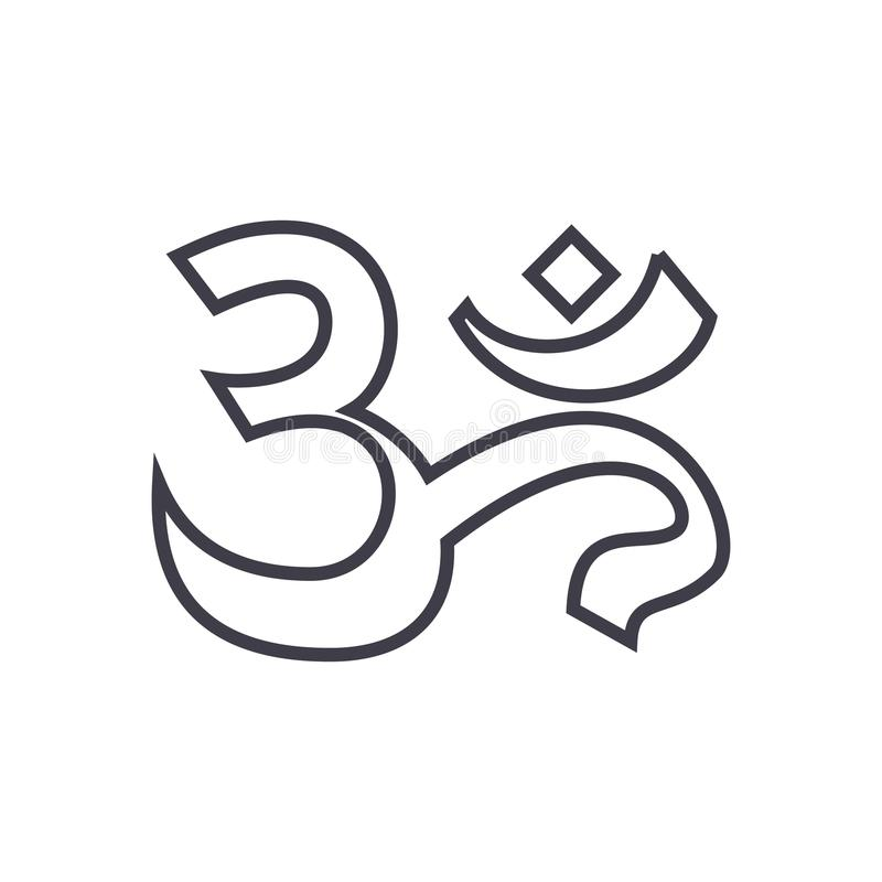 Om,india,meditation vector line icon, sign, illustration on background, editable strokes royalty free illustration