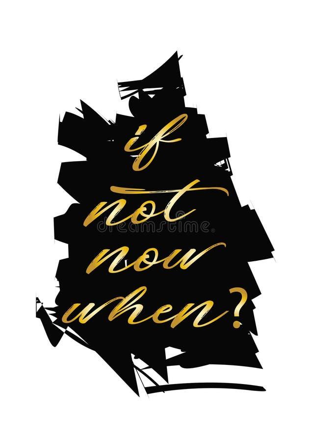 Om inte nu, när? stock illustrationer