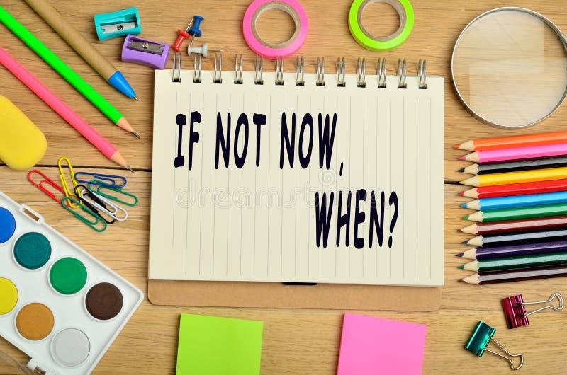 Om inte nu, när? royaltyfria foton
