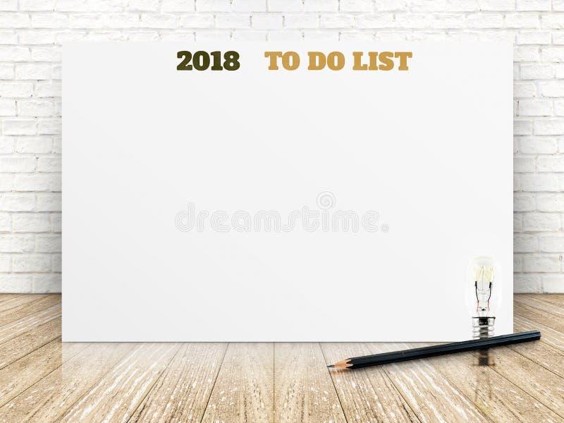 2018 om lijst op Witboekaffiche op witte marmeren ruimtemuur te doen, royalty-vrije stock afbeelding