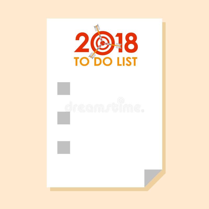 Om lijst voor het jaar van 2018 te doen royalty-vrije illustratie
