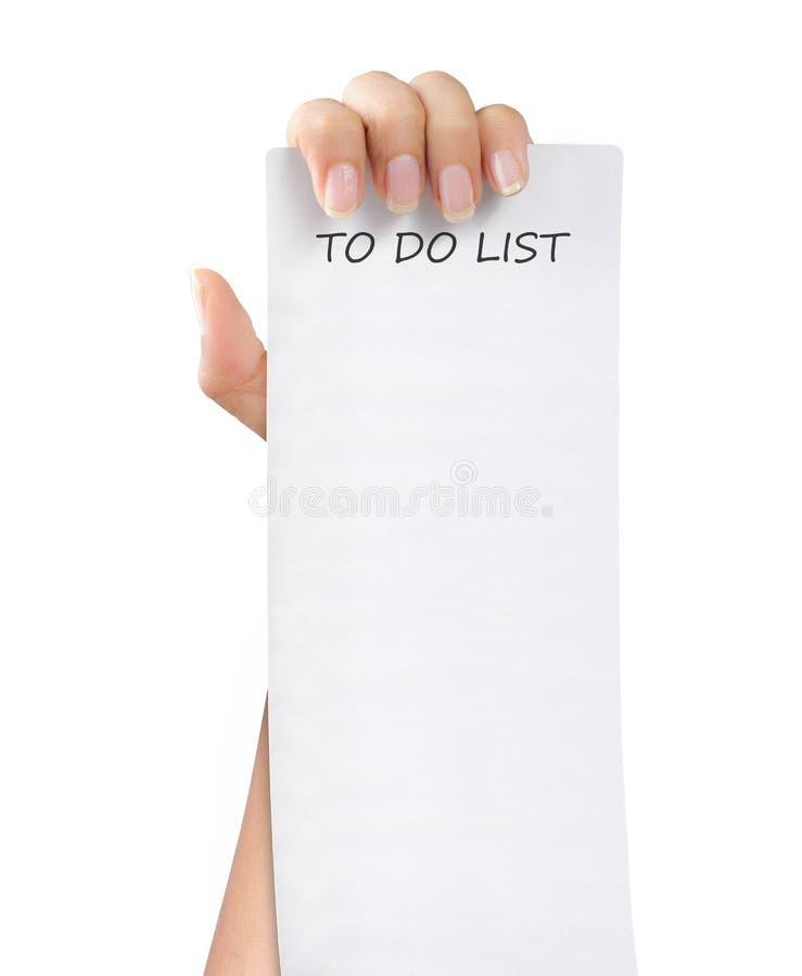 Om lijstdocument nota te doen stock afbeeldingen
