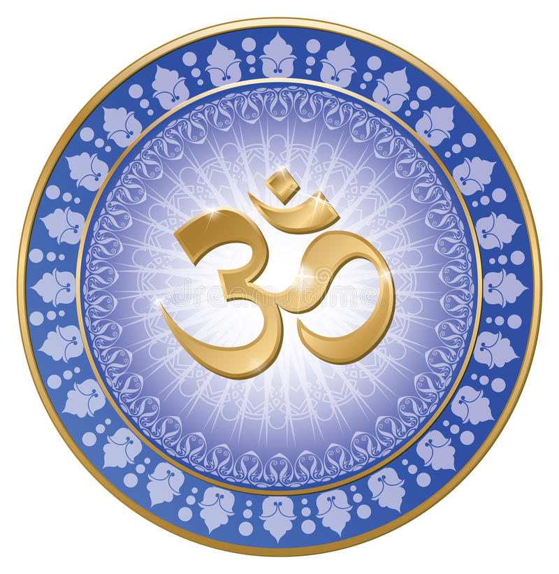 Om mandala yoga. India symbol stock illustration