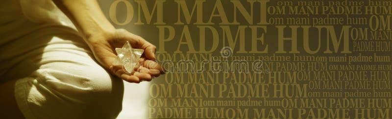 Om Mani Padme Hum Buddhism Meditation mantra Banner royalty-vrije stock foto
