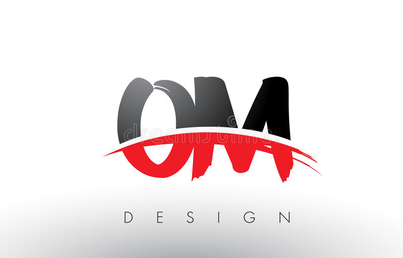 Très OM O M Brush Logo Letters With Red And Black Swoosh Brush Front  MQ21