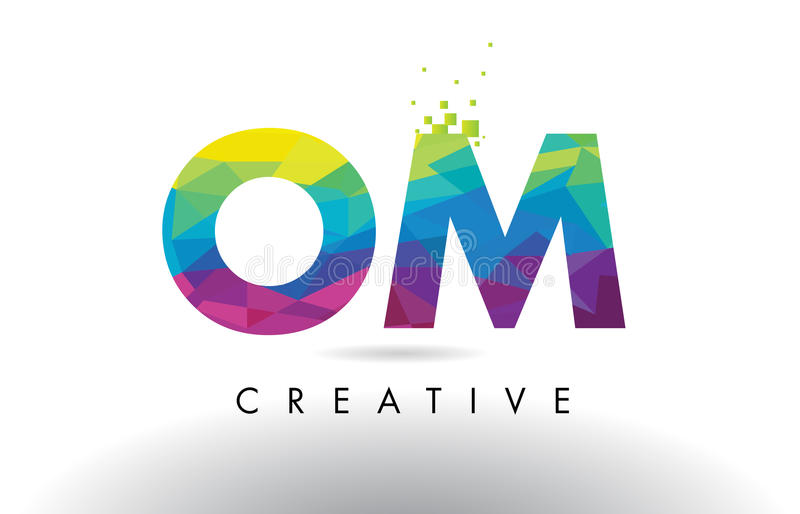 OM O M Colorful Letter Origami Triangles Design Vector. OM O M Colorful Letter Design with Creative Origami Triangles Rainbow Vector royalty free illustration