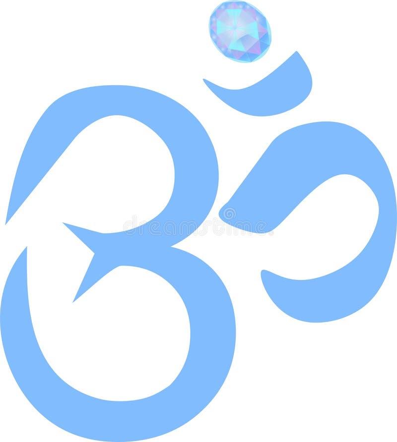 OM- oder Krishna-Symbol mit Diamanten stockfotografie