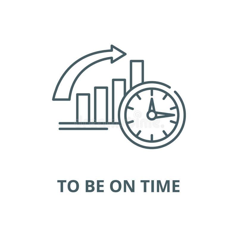 Om op tijd vectorlijnpictogram te zijn, schetst het lineaire concept, teken, symbool vector illustratie