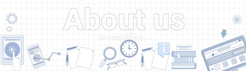 Om oss ord på kvadrerat begrepp för sida för information om bakgrundshorisontalbanerkontakt stock illustrationer