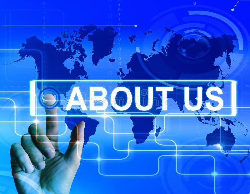 Om oss visar översikten information om Website av internationellt Co royaltyfri illustrationer