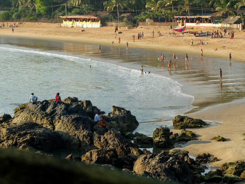OM plaża, GOKARNA, KARNATAKA/INDIA-FEBUARY 2ND, 2018 zdjęcia stock