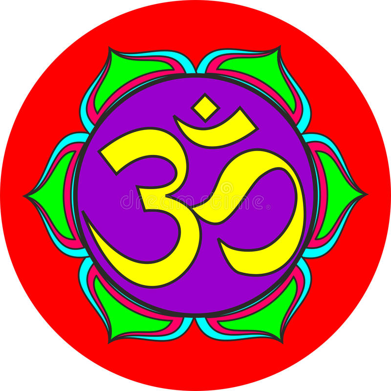 Om sacred sound symbol. Indian Dharmic religion om sacred sound symbol royalty free illustration
