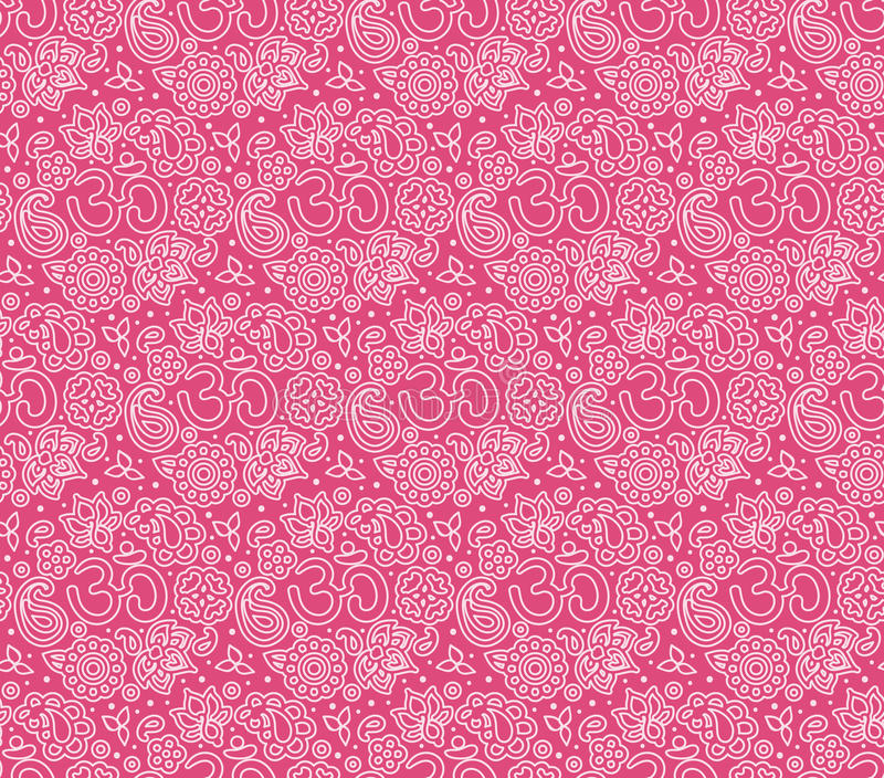 OM seamless pattern. Vector seamless bright boho paisley OM texture for cards, fabric and design stock illustration