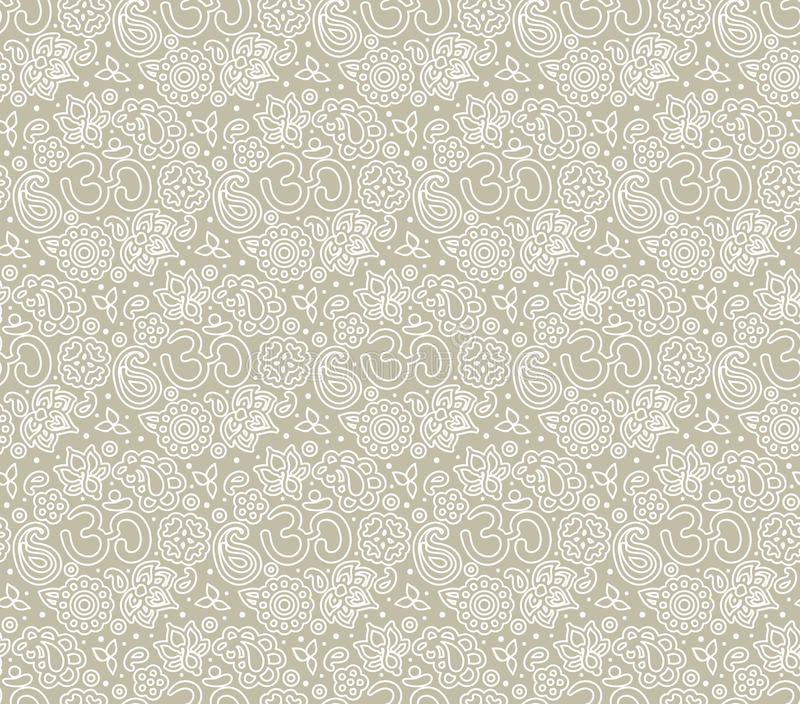 OM seamless pattern. Vector seamless ivory boho paisley OM texture for cards, fabric and design vector illustration